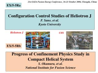 Configuration Control Studies of Heliotron J F. Sano, et al. Kyoto University