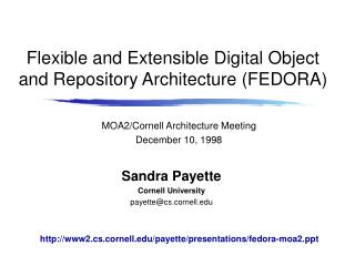 Flexible and Extensible Digital Object and Repository Architecture FEDORA