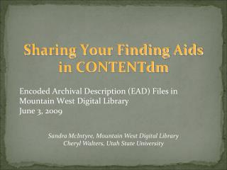 Sharing Your Finding Aids in CONTENTdm
