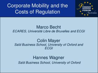 Corporate Mobility and the Costs of Regulation