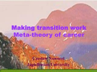 Making transition work  Meta-theory of career