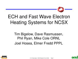 ECH and Fast Wave Electron Heating Systems for NCSX