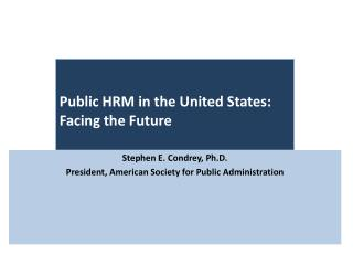 Public HRM in the United States: Facing the Future