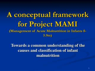 A conceptual framework for Project MAMI (Management of Acute Malnutrition in Infants 0-5.9m)