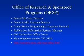 Office of Research & Sponsored Programs (ORSP )
