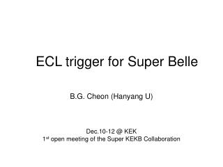 ECL trigger for Super Belle