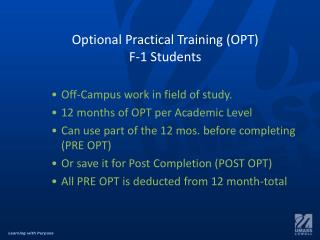 Optional Practical Training (OPT) F-1 Students