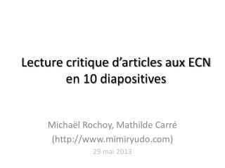 Lecture critique d'articles aux ECN en 10 diapositives