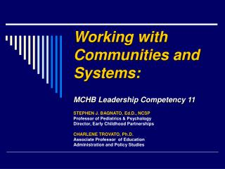 Working with Communities and Systems: MCHB Leadership Competency 11