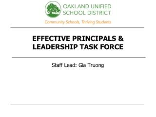 EFFECTIVE PRINCIPALS & LEADERSHIP TASK FORCE