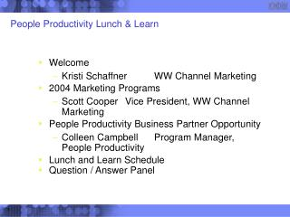 People Productivity Lunch & Learn