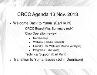 CRCC Agenda 13 Nov. 2013
