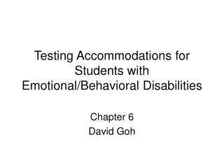 Testing Accommodations for Students with Emotional/Behavioral Disabilities