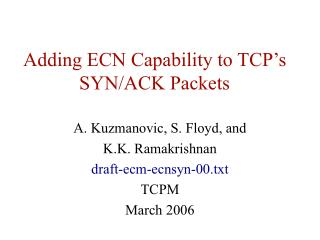 Adding ECN Capability to TCP's SYN/ACK Packets