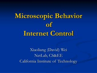 Microscopic Behavior  of  Internet Control