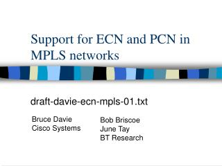 Support for ECN and PCN in MPLS networks