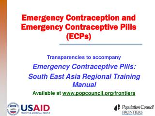 Emergency Contraception and Emergency Contraceptive Pills (ECPs)