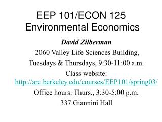 EEP 101/ECON 125  Environmental Economics