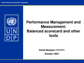 Performance Management and Measurement:  Balanced scorecard and other tools