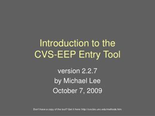Introduction to the CVS-EEP Entry Tool