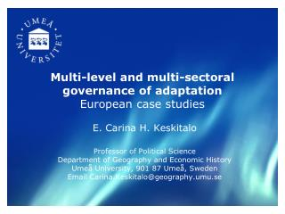 Multi-level and multi-sectoral governance of adaptation  European case studies