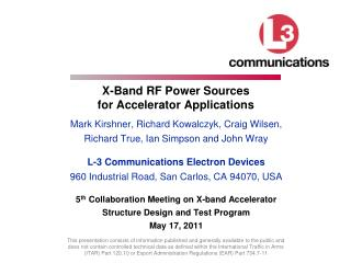 X-Band RF Power Sources  for Accelerator Applications