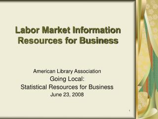 Labor Market Information  Resources for Business