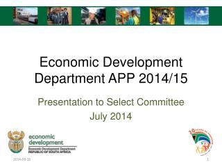 Economic Development Department APP 2014/15