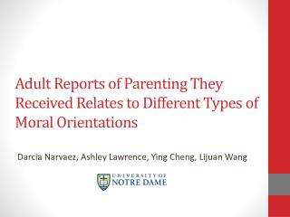 Adult Reports of Parenting They Received Relates to Different Types of Moral Orientations