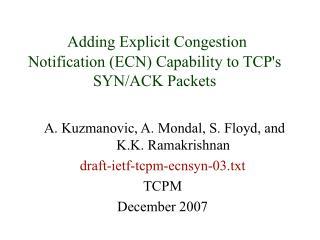 Adding Explicit Congestion Notification (ECN) Capability to TCP's SYN/ACK Packets