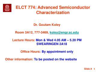 ELCT 774: Advanced Semiconductor Characterization