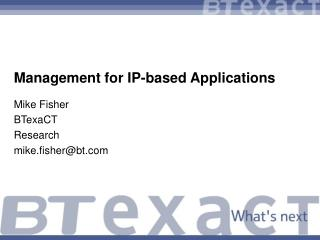 Management for IP-based Applications