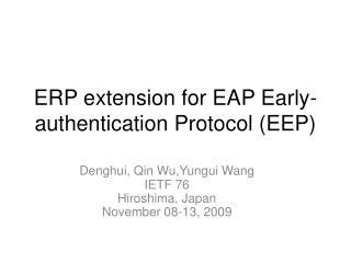 ERP extension for EAP Early-authentication Protocol (EEP)