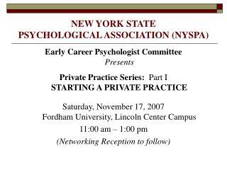 NEW YORK STATE  PSYCHOLOGICAL ASSOCIATION (NYSPA)