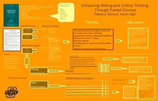 Enhancing Writing and Critical Thinking  Through Paired Courses Rebecca Damron, Karen High