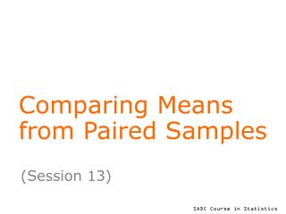 Comparing Means from Paired Samples