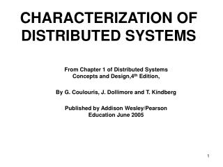 CHARACTERIZATION OF DISTRIBUTED SYSTEMS