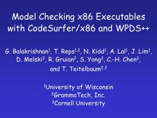 Model Checking x86 Executables with CodeSurfer/x86 and WPDS++