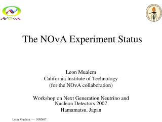 The NO n A Experiment Status