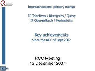 RCC Meeting 13 December 2007