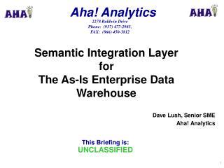 Dave Lush, Senior SME Aha! Analytics