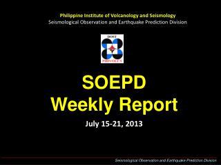 SOEPD  Weekly Report
