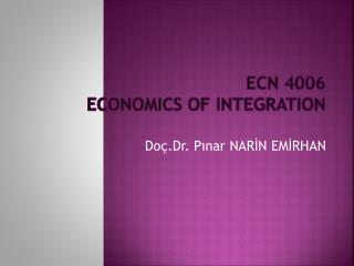 ECN  4006  ECONOMICS OF INTEGRATION