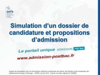 Simulation d�un dossier de  candidature et propositions  d�admission