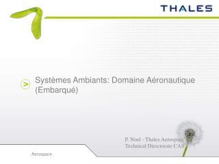 Systèmes Ambiants: Domaine Aéronautique (Embarqué)
