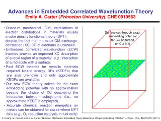 Surface cut through exact  embedding potential  for CO adsorbed  on Cu(111)