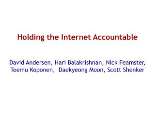 Holding the Internet Accountable