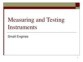 Measuring and Testing Instruments
