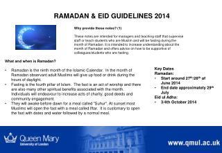 RAMADAN & EID GUIDELINES 2014