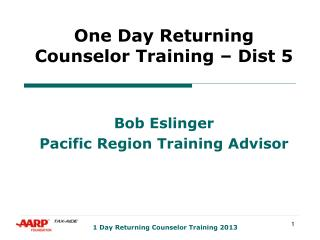 One Day Returning Counselor Training – Dist 5